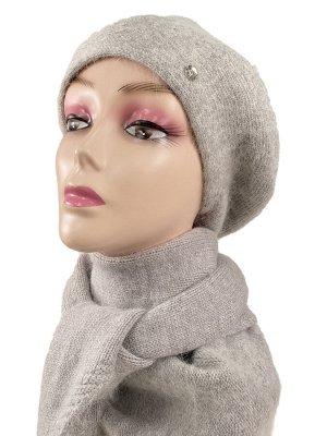 Комплект, берет женский с косынкой , цвет серый