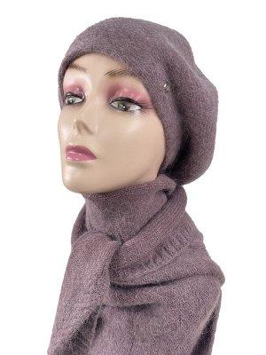 Комплект, берет женский с косынкой , цвет бледно фиолетовый