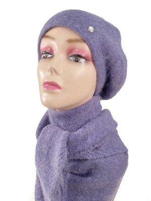 Комплект, берет женский с косынкой , цвет фиолетовый