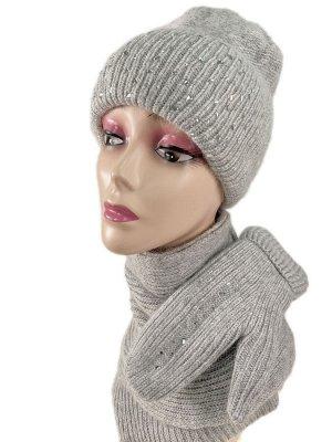 Комплект шапка женская, шарф и варежки, цвет светло серый