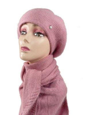 Комплект, берет женский с косынкой , цвет розовый