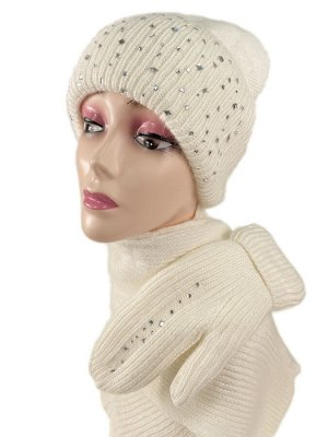 Комплект шапка женская, шарф и варежки, цвет белый