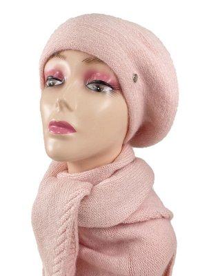 Комплект, берет женский с косынкой , цвет светло розовый