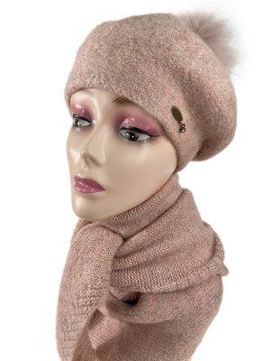 Комплект берет женский и шарф-косынка, цвет светло розовый