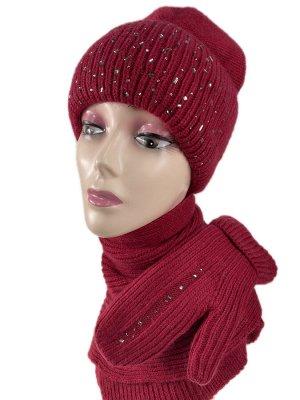 Комплект шапка женская, шарф и варежки, цвет красно-бордовый