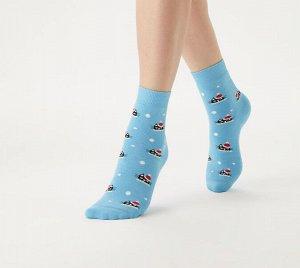 Зимние плюшевые женские носки с оригинальным рисунком Котики
