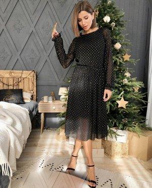 Платье Длина 110см  Ткань сетка с блеска на подклад  🖤 высокого качества