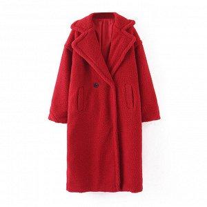 Пальто женское, цвет: красный