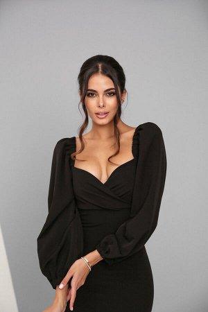 Платье-футляр из костюмной ткани с рукавами-буфами