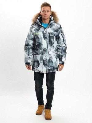 Mолодежная зимняя куртка мужская серого цвета 737Sr