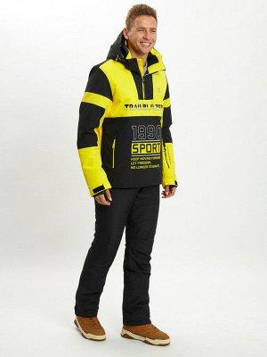 Горнолыжный костюм анорак мужской желтого цвета 077024J