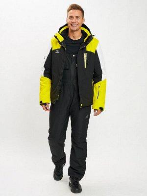 Горнолыжный костюм мужской желтого цвета 077018J