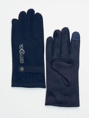 Классические перчатки зимние мужские темно-синего цвета 603TS