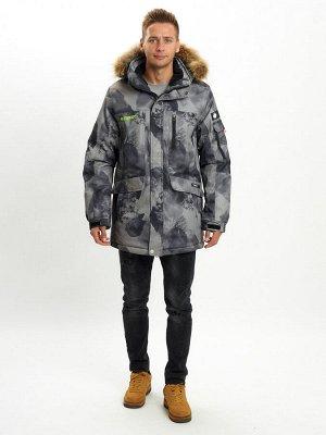 Mолодежная зимняя куртка мужская темно-серого цвета 737TC
