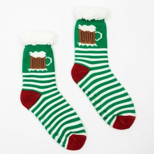 Носки мужские с мехом, цвет зелёный, р-р 27-29 (р-р обуви 39-44
