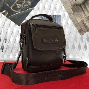 Мужская сумка Boston из мягкой натуральной кожи с ремнем через плечо цвета латте.