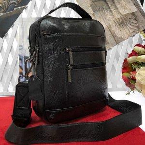 Мужская сумка Seduction из мягкой натуральной кожи с ремнем через плечо чёрного цвета.