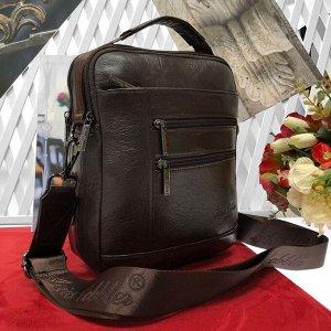 Мужская сумка Seduction из мягкой натуральной кожи с ремнем через плечо кофейного цвета.