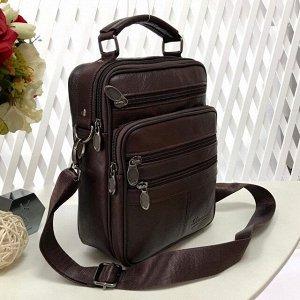 Мужская сумка User среднего размера из мягкой натуральной кожи с ремнем через плечо кофейного цвета.