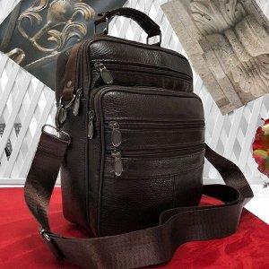 Мужская сумка Success формата А5 из мягкой натуральной кожи с ремнем через плечо кофейного цвета.