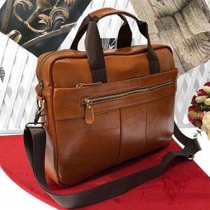 Мужская сумка Bigboss формата А4 из натуральной кожи цвета панциря черепахи.