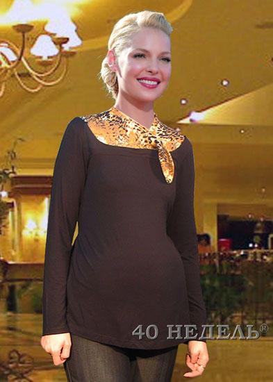 Блуза для беременных, цвет черный, вставка с шашечками во Владивостоке