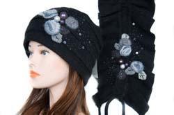Шапка + шарф (комплект) Цвет черный двойная шерсть во Владивостоке