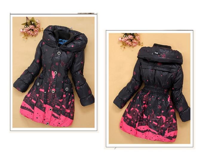 Пуховое пальто коричневое с красным