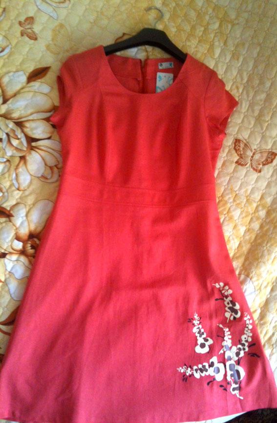 Летнее платье, цвет коралл! На 48 р-р. Есть реальное фото во Владивостоке