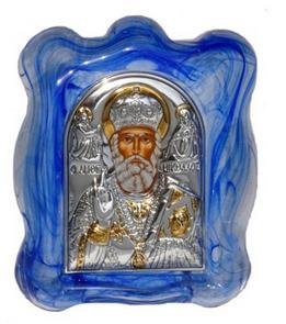 серебряные иконы из Греции на стекле