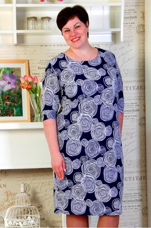 Платье Ткань: вискоза Платье П 2611 Платье прямое полуприталенное Рукав 3/4 Вырез горловины круглый.Размер 48