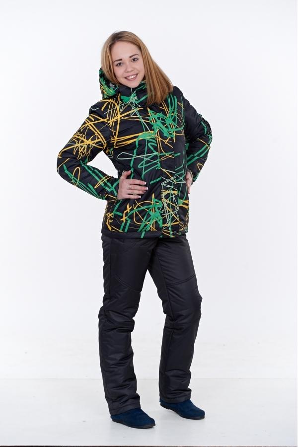 Зимний женский костюм М-155 ПРИНТЫ (черный/зеленый) в Хабаровске