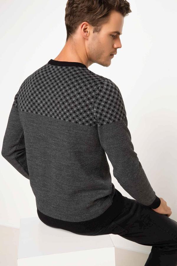 Свитер Akrilik 100% Длинный рукав для мужчин Свитер; Узкий крой; V-образная горловина; стандартный Рост;