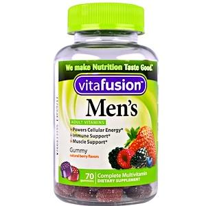 VitaFusion, Мультивитамины для мужчин, натуральный вкус ягод, 70 жевательных таб.