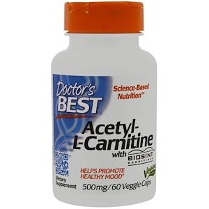 Doctor's Best, Ацетил-L-карнитин с Biosint Carnitines, 500 мг, 60 вегетарианских кап