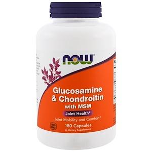 Now Foods, Глюкозамин и хондроитин с MSM, 180 кап