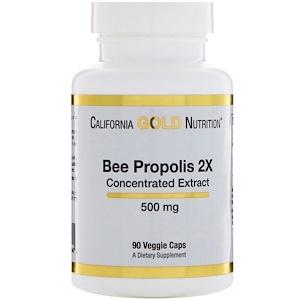 California Gold Nutrition, Прополис 2X, концентрированный экстракт, 500 мг, 90 вегетарианских кап