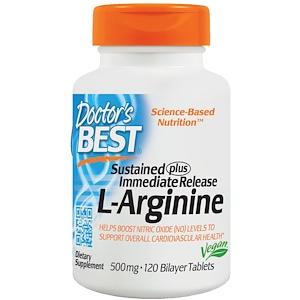 Doctor's Best, Sustained Plus Immediate Release L-Arginine, 500 mg, 120 таб