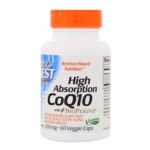 Doctor's Best, Ко-энзим High Absorption CoQ10 высокой абсорбции с биоперином, 200 мг, 60 вегетарианских кап