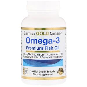 California Gold Nutrition, Omega-3, Premium Fish Oil, 100 кап.