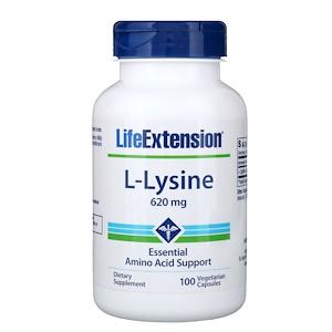 Life Extension, L-лизин, 620 мг, 100 кап