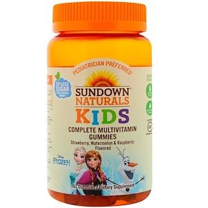 """Sundown Naturals Kids, Мультивитаминные жевательные таблетки, """"Холодное сердце"""", клубника, арбуз и малина, 60 таб"""