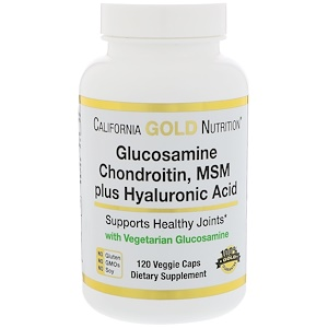 California Gold Nutrition, Вегетарианский глюкозамин, хондроитин, МСМ + гиалуроновая кислота, 120 вегетарианских кап