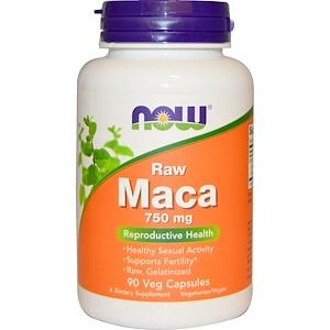 Now Foods, Мака, сырая, 750 мг, 90 вегетарианских кап.