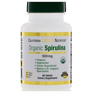 California Gold Nutrition, Спирулина, вегетарианский продукт, 500 мг, 60 таб