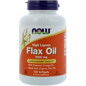 Now Foods, Льняное масло с высоким содержанием лигнана, сертифицированное органическое, 1000 мг, 120 желатиновых кап.