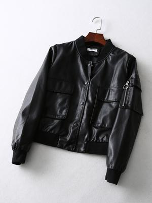 Кожаная PU куртка