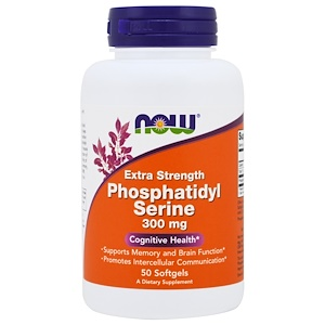 Now Foods, Фосфатидилсерин Extra Strength, 300 мг, 50 желатиновых кап.