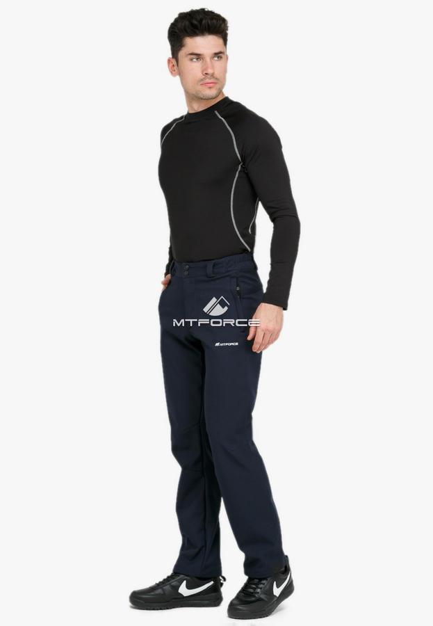 Брюки мужские из ткани softshell темно-синего цвета