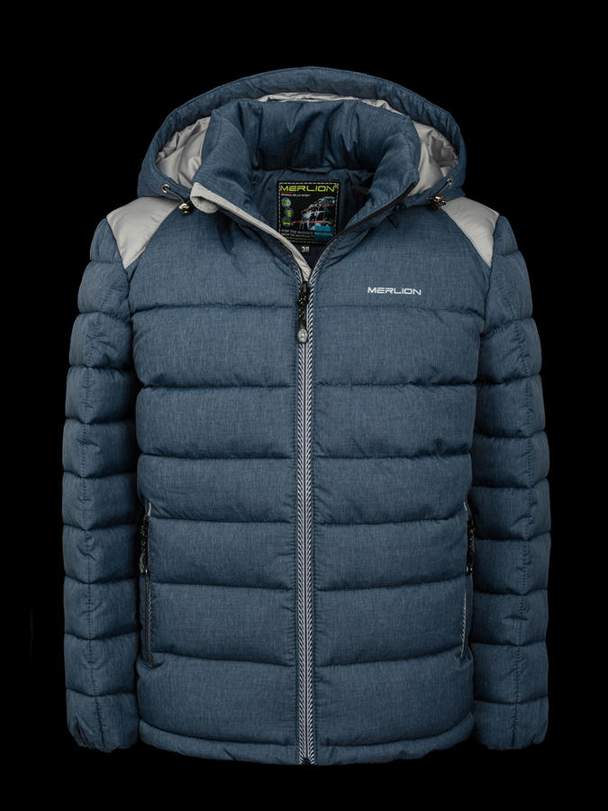 Куртка зимняя детская Merlion (синий меланж/серый) р.38-4 во Владивостоке